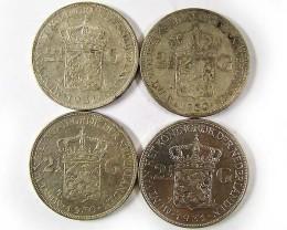 FOUR .720 SILVER 2.5 G  COINS 1930-31   CO 973