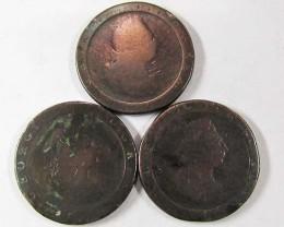 PARCEL 3 BRITISH CARTWHEEL COINS  1797-98   AC 704