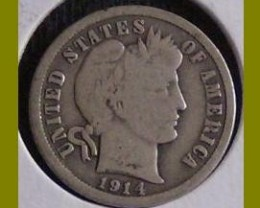 UNITED STATES 1914 SILVER BARBER DIME MINT - D / CIRCULATED