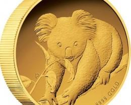 Australian Koala 2010 Gold Proof Coin  High relief