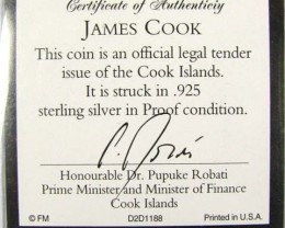 PROOF SILVER TEN DOLLAR COOK ISLAND COIN  CO 1052