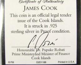 PROOF SILVER TEN DOLLAR COOK ISLAND COIN  CO 1052
