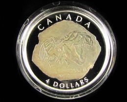 TRYANNOSAURUS REX FOSSIL CANADIAN PROOF SILVER COIN
