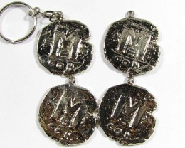 PARCEL RHODIUM PLATED ANCIENT COINS ON LOOPS T1501