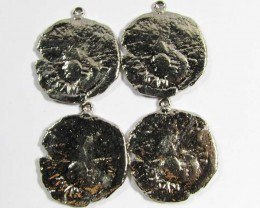 PARCEL RHODIUM PLATED ANCIENT COINS ON LOOPS T1502
