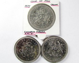 3 X ISLE OF MAN  1977 CU-NI CROWNS   J1523