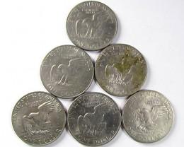 PARCEL SIX  1972 ONE DOLLAR COINS  J1533