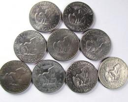 PARCEL NINE ONE DOLLAR USA COINS 1971-77   J1534