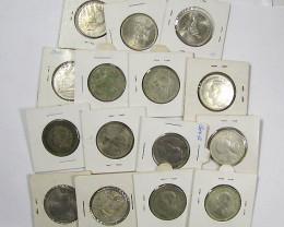 PARCEL 15 FLORIN COINS POST 1946 .500 SILVER  J1535