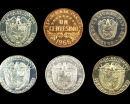 COLLECTORS SIX COIN  1966 PROOF BALBOA PANAMA  SET CO 1062