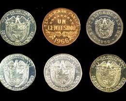 COLLECTORS SIX COIN  1966 PROOF BALBOA PANAMA  SET CO 1066