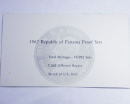 COLLECTORS SIX COIN  1967 PROOF BALBOA PANAMA  SET CO 1069