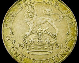 FREE SHIPPING GB 1921 ONE SHILLING .500 SILVER    CO 1079