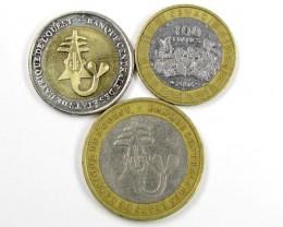 3 X AFRICAN UNION BI METALIC  COINS     J 1553