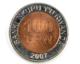 BI METALIC  COINS RWANDA 2007    J 154