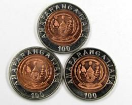 3 X BI METALIC  COINS  RWANDA    J 1560
