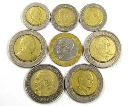 COLLECTION 8 BI METALIC  COINS  KENYA    J 1569