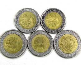 5 X PERU BI METALIC  COINS     J 1570