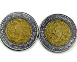 2 X 1995 MEXICAN BI METALIC  COINS     J 1571