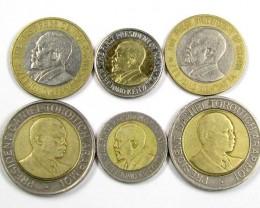 6 COIN SET KENYAN BI METALIC  COINS     J 1575