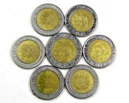 7 PC PERU BI METALIC  COINS     J 1576