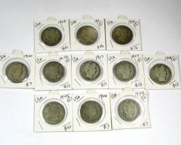 PARCEL 11 BARBER SILVER COINS     J 1579
