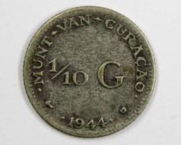 CURACO 1944 SILVER .640  COIN     J 1583
