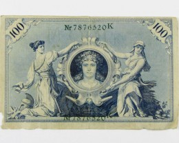 1908 GERMAN 100 M BILL NOTE J 1590