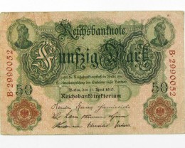 50 MARK  1910 GERMAN NOTE J 1593