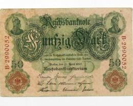 50 MARK  1910 GERMAN NOTE J 1593