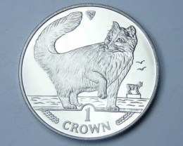 Isle Of Man 1991 Norweigian Forest cat coin CO1116