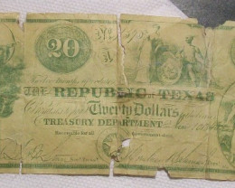 1840 REPUBLIC OF TEXAS $20/OBSOLETE - HARD TO FIND