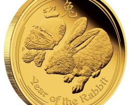 :Lunar 2011 Rabbit 1/4  ounce Gold Proof Gold coin