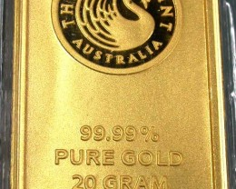 Certified 20 Gram Perth Mint Gold Bar