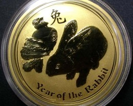 Lunar 2011 Rabbit One ounce Gold Gold Coin