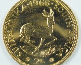 1966 GOLD UNC 2 RAND GOLD COIN    J1618
