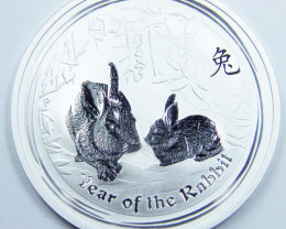 2011 LUNAR YEAR OF THE RABBIT ONE OUNCE SILVER COIN