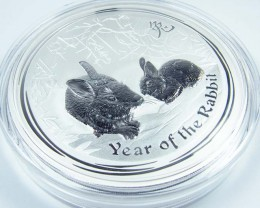 2011 MASSIVE ONE KILO BU LUNAR RABBIT SILVER  COIN