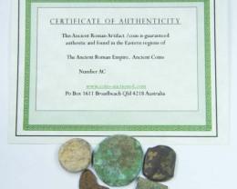 5 UNCLEANED DESERT PLATINA  MIXED BIBLICAL COINS  AC 706