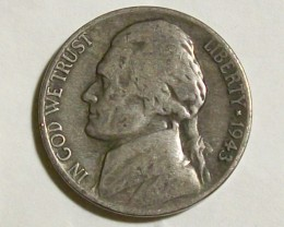 1943 UNITED STATES NICKEL/UNCLEANED