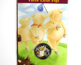 THREE LITTLE PIGS COL COIN & 7 PAGE STORY FOLDER  CO 1195
