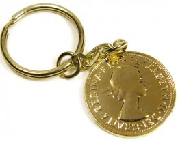 GENUINE AUSTRALIAN HALF PENY COIN KEY RING J1622