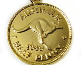 GENUINE AUSTRALIAN 1949 COIN KEY RING J1628 ML