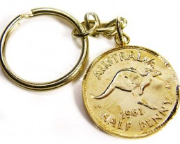 GENUINE AUSTRALIAN 1961 COIN KEY RING J1631 ML