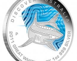 Discover dreaming 2011 Great White Shark proof silver coin