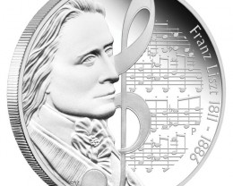 Great Composers 1oz Silver Proof Coin Series Franz Liszt