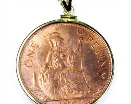 GENUINE 1967 BRITISH ONE PENNY COIN PENDANT  J1681