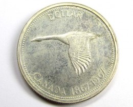 1967 DOLLAR FLYING GOOSE  .800 SILVER COIN      J 1884