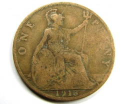 1913 COPPER ONE PENNY COIN     J 1887