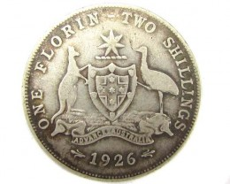 AUSTRALIAN FLORIN TWO SHILLING 1926  .925 SILVER COIN CO901